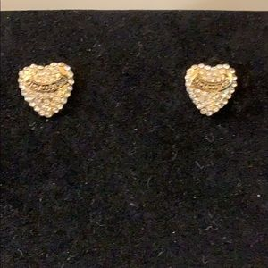 Juicy Couture rhinestone heart studs. Bling bling!